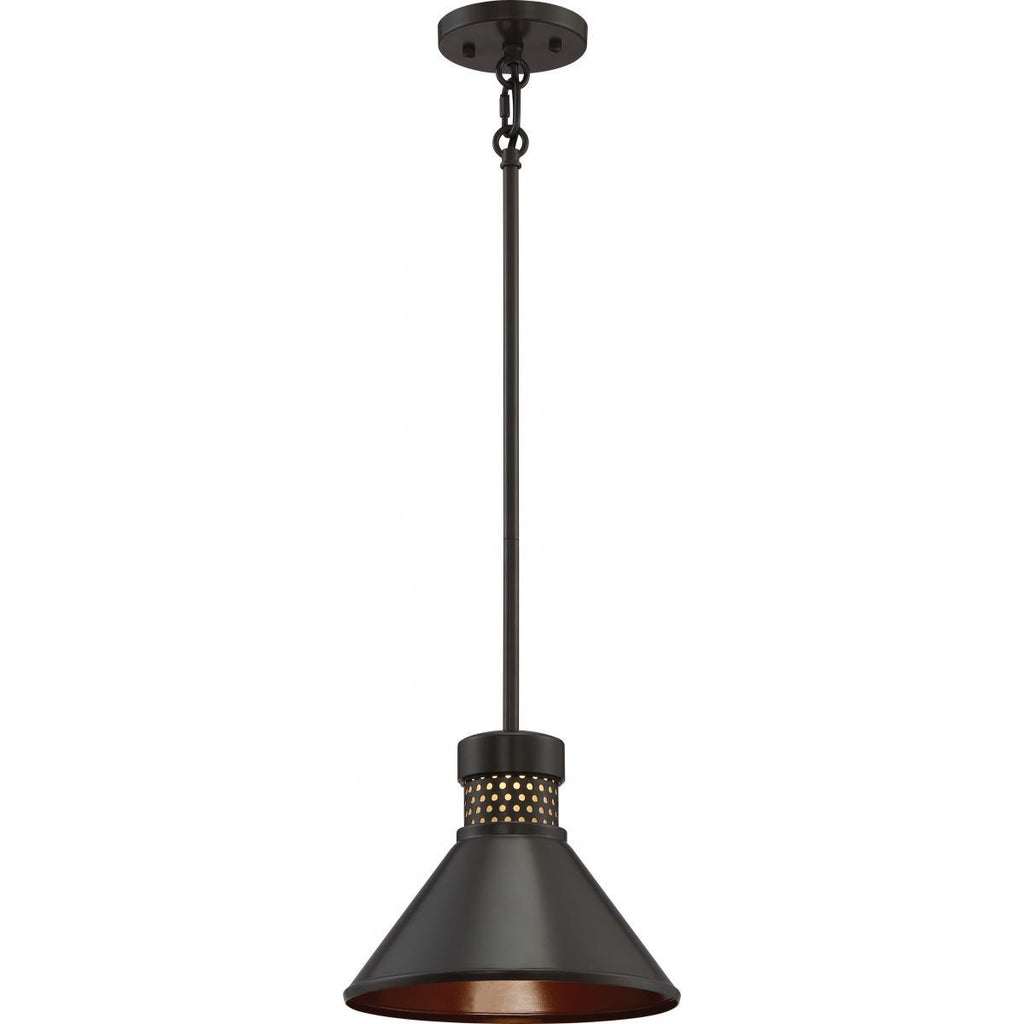 Doral Small LED Pendant Dark Bronze / Copper Accent Finish Ceiling Nuvo Lighting