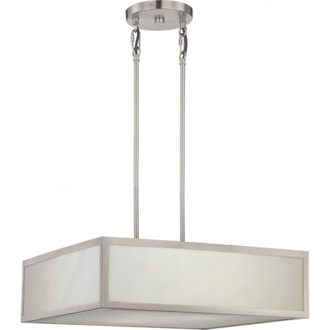 Crate LED Pendant Fixture with Gray Marbleized Acrylic Panels Brushed Nickel Finish Ceiling Nuvo Lighting