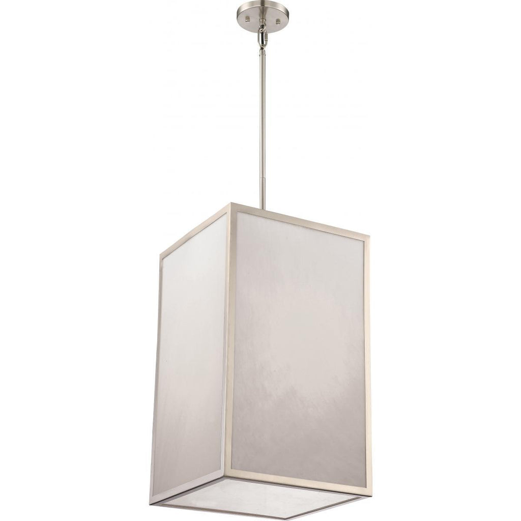 Crate LED Foyer Fixture with Gray Marbleized Acrylic Panels Brushed Nickel Finish Ceiling Nuvo Lighting