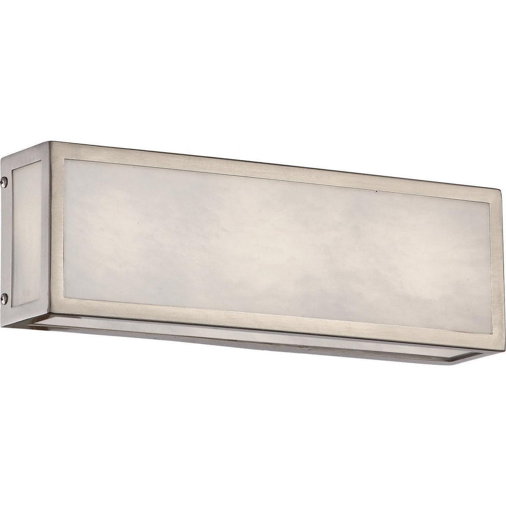 "Crate 12"" LED Vanity Fixture with Gray Marbleized Acrylic Panels Brushed Nickel Finish Wall Nuvo Lighting"