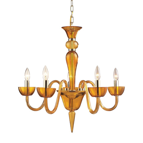 Vidriana Collection 5-Light Chandelier In Amber Glass With Polished Chrome Accen