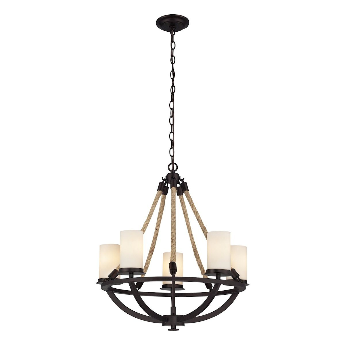 Natural Rope 5 Light Chandelier In Aged Bronze And White Glass Ceiling Elk Lighting