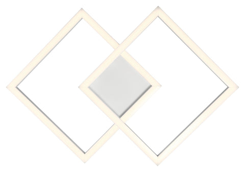 Squared Dimmable LED Ceiling or Wall Fixture - White (WH)