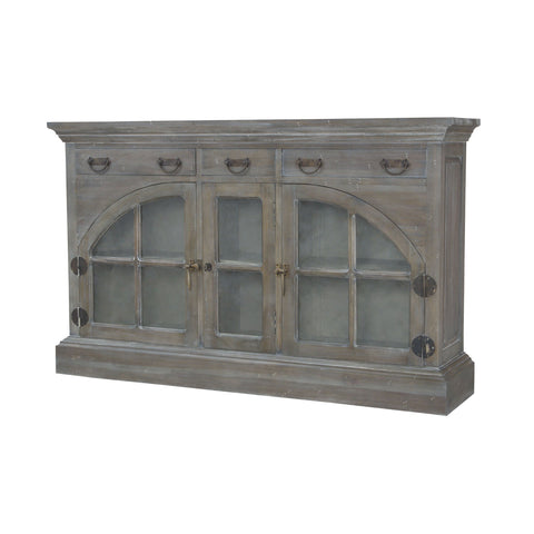 Farmhouse China Credenza In Waterfront Grey Stain And White Wash Furniture GuildMaster