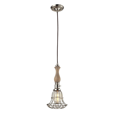 "Cage and Spindle 7""w Wood Mini Pendant in Polished Nickel"