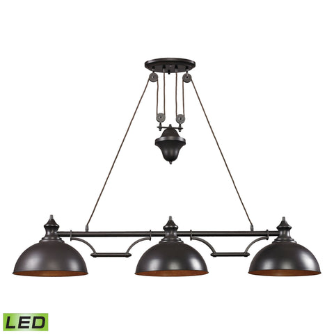 "Farmhouse 56""w LED Pool Table Island Pendant in Oiled Bronze Ceiling Elk Lighting Default Value"