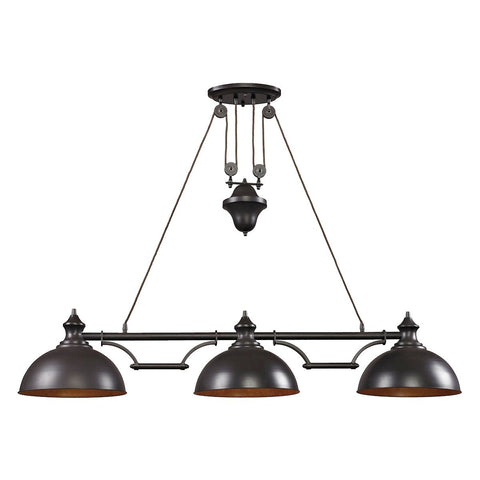 Farmhouse 3 Light Billiard In Oiled Bronze Ceiling Elk Lighting