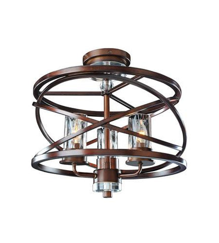 "Eternity 17""w Semi Flush - Etruscan Bronze"