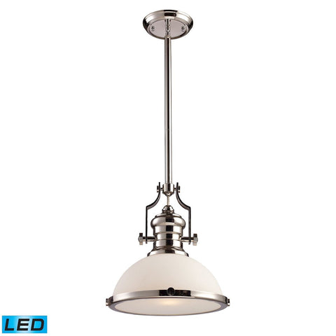 Elk Lighting Chadwick 1 Light LED Pendant In Polished Nickel With White Glass