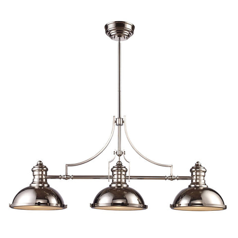 Chadwick 3 Light Billiard In Polished Nickel Ceiling Elk Lighting