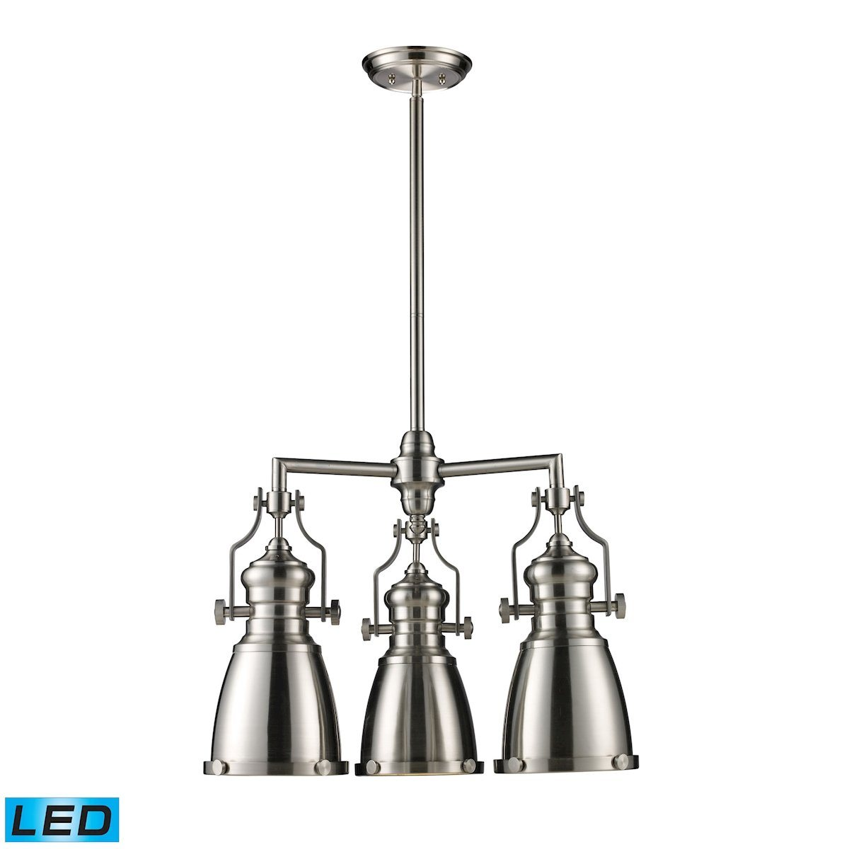 Chadwick 3 Light LED Chandelier In Satin Nickel Ceiling Elk Lighting