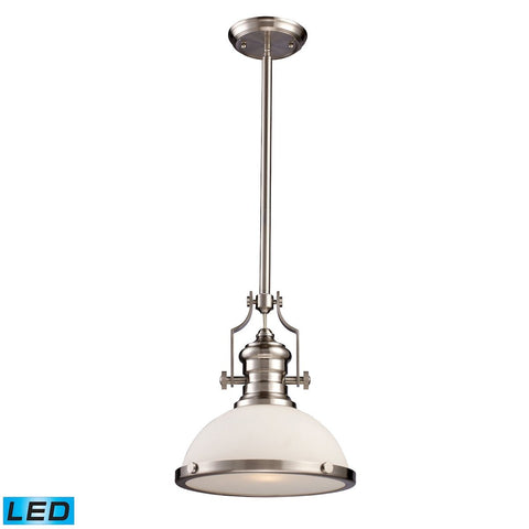 Elk Lighting Chadwick 1 Light LED Pendant In Satin Nickel With White Glass