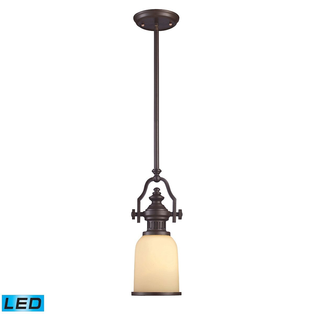 Chadwick LED Mini Pendant In Oiled Bronze And Amber Glass Ceiling Elk Lighting