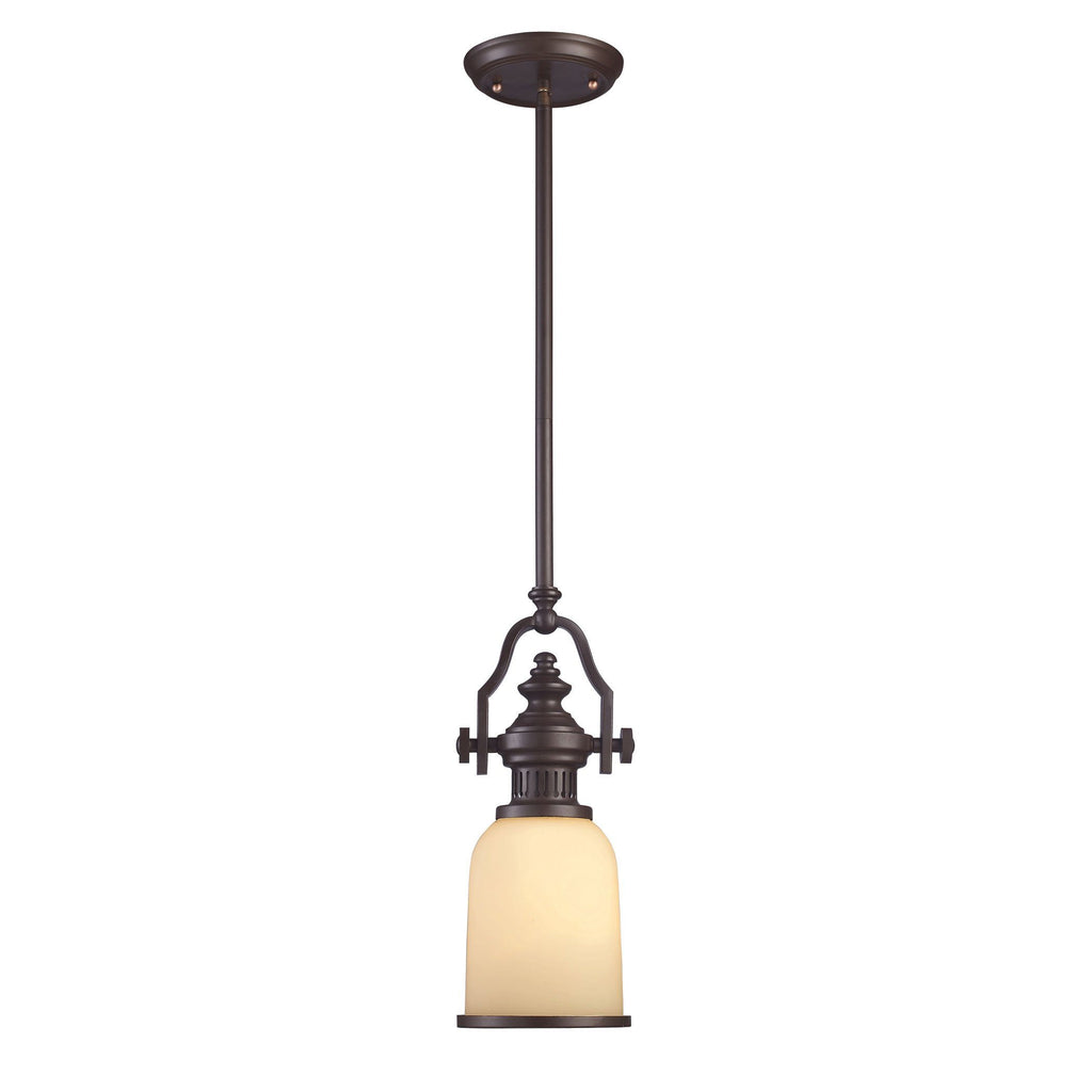 Chadwick Mini Pendant In Oiled Bronze And Amber Glass Ceiling Elk Lighting