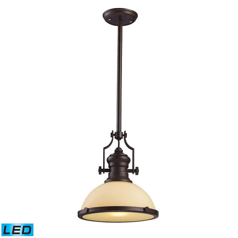 Elk Lighting Chadwick 1 Light LED Pendant In Oiled Bronze And Amber Glass