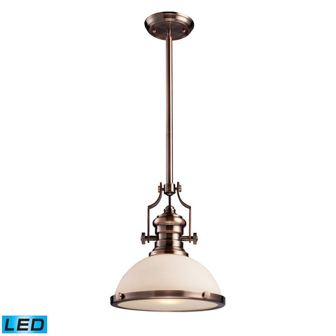 Elk Lighting Chadwick 1 Light LED Pendant In Antique Copper And White Glass