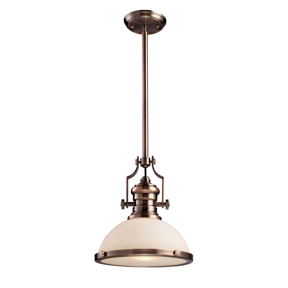 Chadwick 1 Light Pendant In Antique Copper And White Glass Ceiling Elk Lighting
