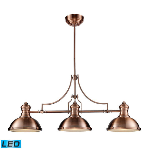 Chadwick 3 Light LED Billiard In Antique Copper Ceiling Elk Lighting