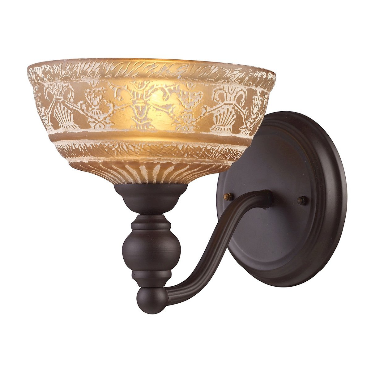 Norwich 1 Light Wall Sconce In Oiled Bronze And Amber Glass Wall Sconce Elk Lighting