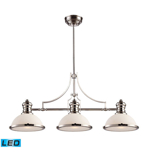 Elk Lighting Chadwick 3 Light LED Billiard In Polished Nickel And White Glass