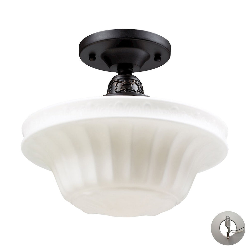 Quinton Parlor 1 Light Semi Flush In Oiled Bronze And White Glass - Includes Recessed Lighting Kit Semi Flushmount Elk Lighting