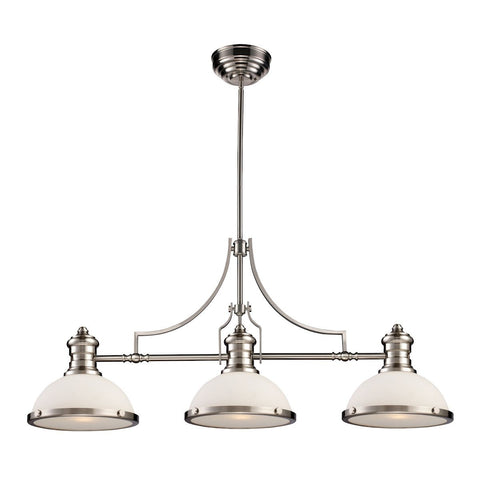 Elk Lighting Chadwick 3 Light Billiard In Satin Nickel And White Glass