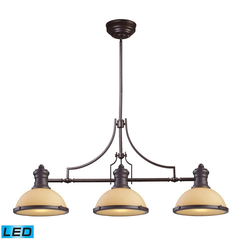 Chadwick 3 Light LED Billiard In Oiled Bronze And Amber Glass Ceiling Elk Lighting