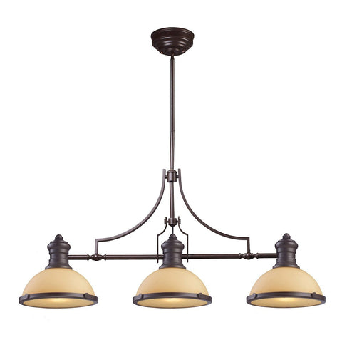 Elk Lighting Chadwick 3 Light Billiard In Oiled Bronze And Amber Glass