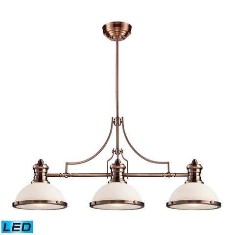 Elk Lighting Chadwick 3 Light LED Billiard In Antique Copper And White Glass