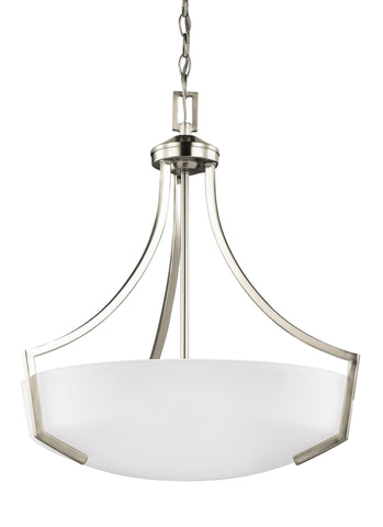 Hanford Three Light LED Pendant - Brushed Nickel Ceiling Sea Gull Lighting