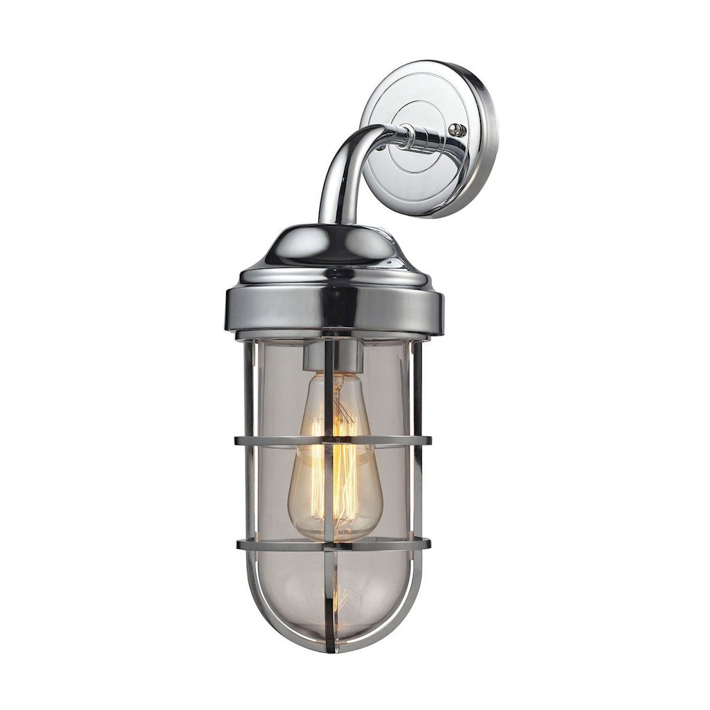 Seaport 1 Light Wall Sconce In Polished Chrome And Clear Glass Wall Sconce Elk Lighting