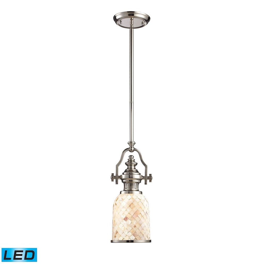 Chadwick LED Pendant In Polished Nickel And Cappa Shells Ceiling Elk Lighting