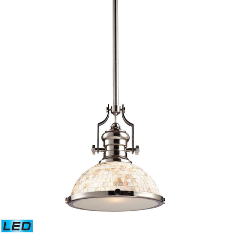 Elk Lighting Chadwick 1 Light LED Pendant In Polished Nickel And Cappa Shells