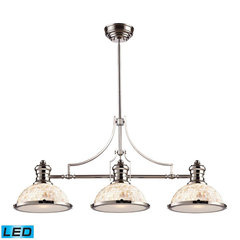 Elk Lighting Chadwick 3 Light LED Billiard In Polished Nickel And Cappa Shells