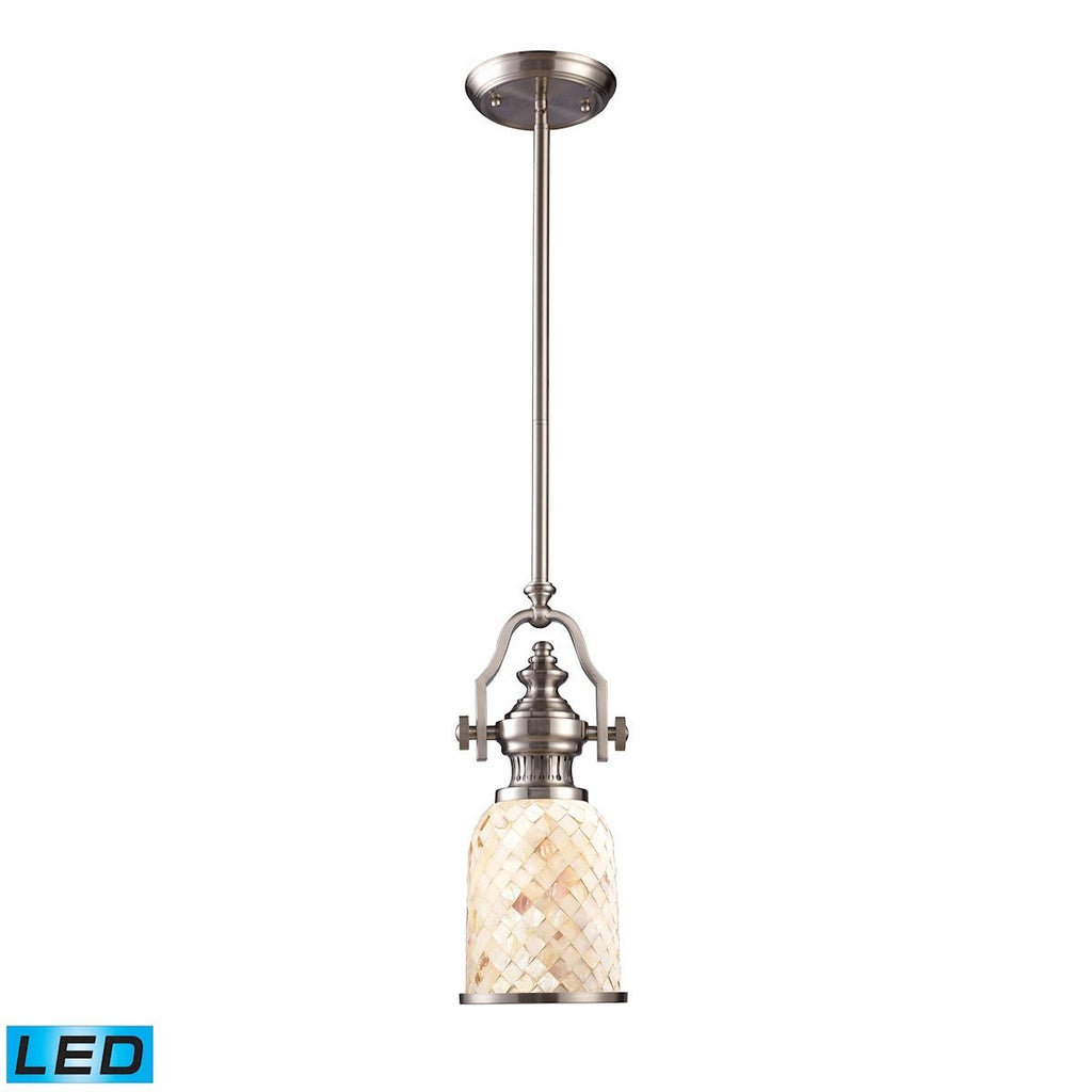Chadwick LED Pendant In Satin Nickel And Cappa Shells Ceiling Elk Lighting