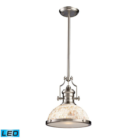 Elk Lighting Chadwick 1 Light LED Pendant Satin Nickel And Cappa Shells