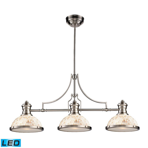 Elk Lighting Chadwick 3 Light LED Billiard In Satin Nickel And Cappa Shells