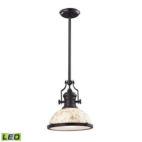 Elk Lighting Chadwick 1 Light LED Pendant Oiled Bronze And Cappa Shells