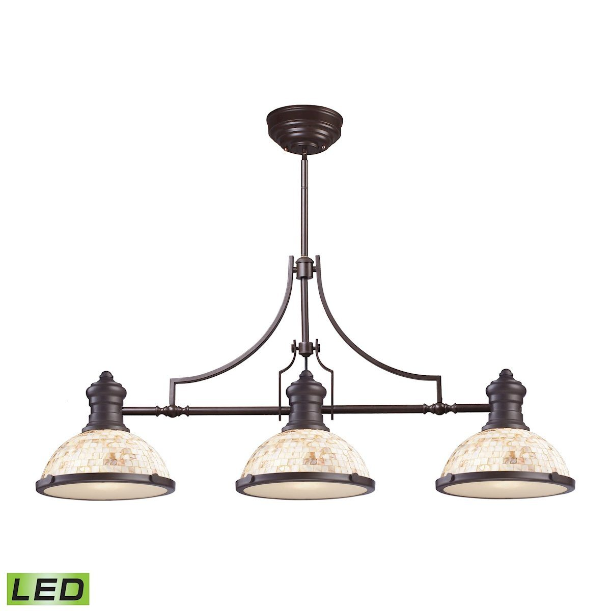 Chadwick 3 Light LED Billiard Light In Oiled Bronze And Cappa Shells Ceiling Elk Lighting