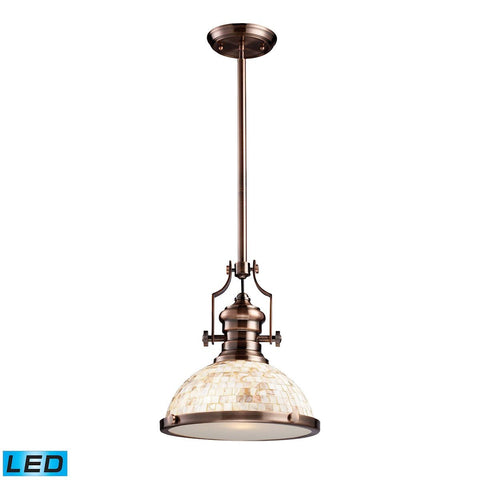 Elk Lighting Chadwick 1 Light LED Pendant Antique Copper And Cappa Shells