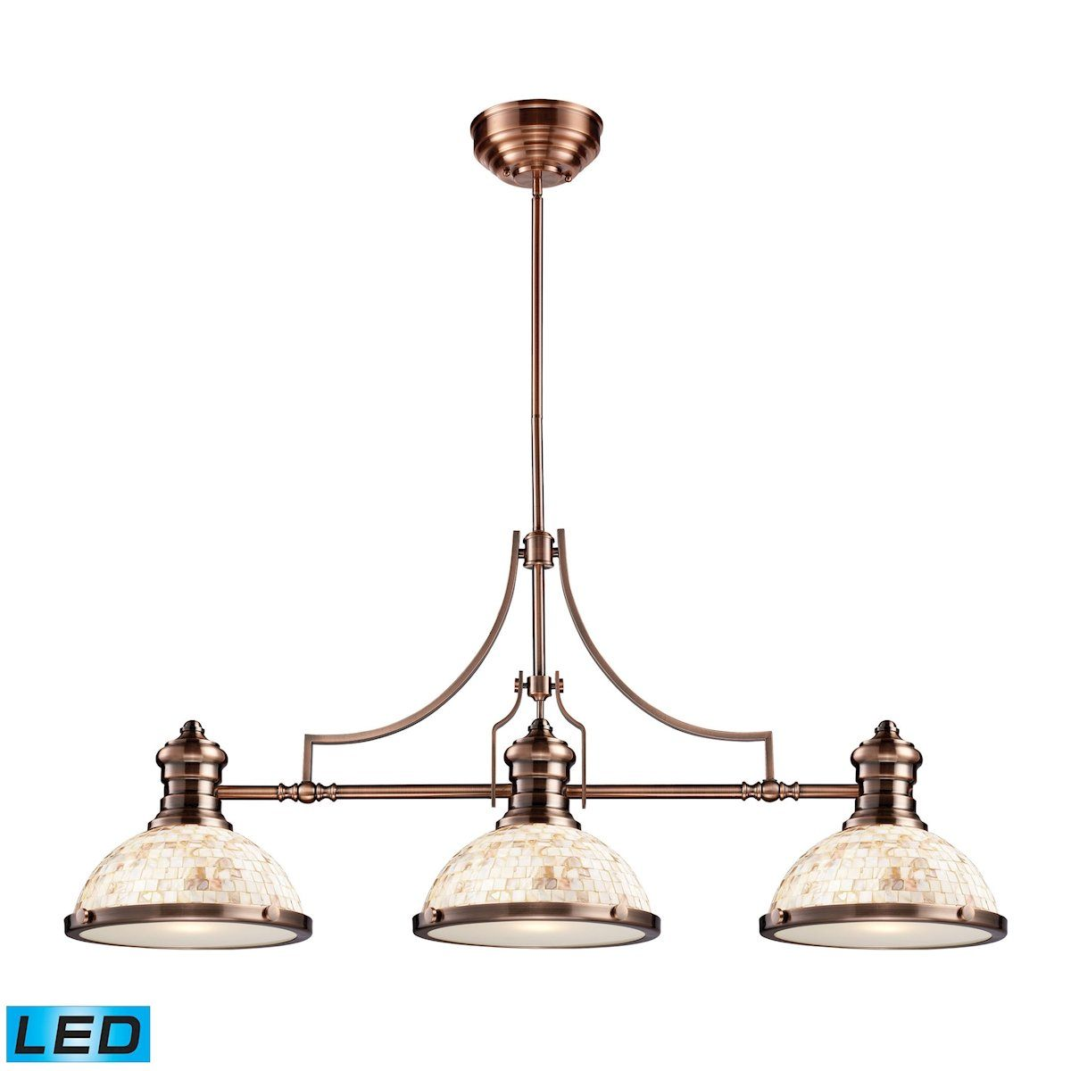 Chadwick 3 Light LED Billiard In Antique Copper And Cappa Shells Ceiling Elk Lighting