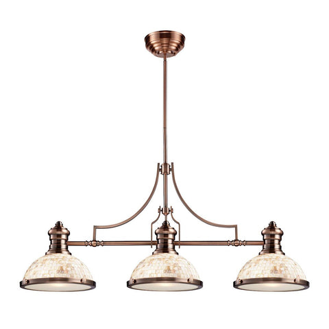 Elk Lighting Chadwick 3 Light Billiard In Antique Copper And Cappa Shells