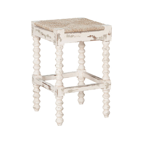 "Crossroads 24""h Carved Wood Counter Stool"