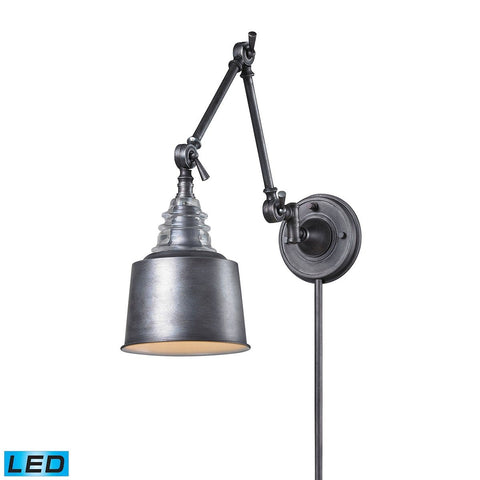 Insulator Glass 1 Light LED Swingarm Sconce In Weathered Zinc Wall Elk Lighting