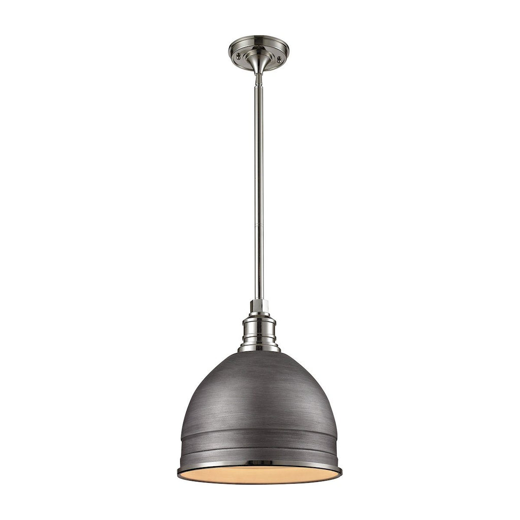 Carolton 1 Light Pendant In Weathered Zinc And Polished Nickel Ceiling Elk Lighting