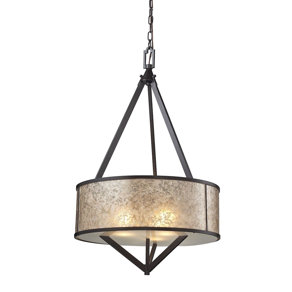 Mica 3 Light Pendant In Oil Rubbed Bronze And Tan Mica Ceiling Elk Lighting