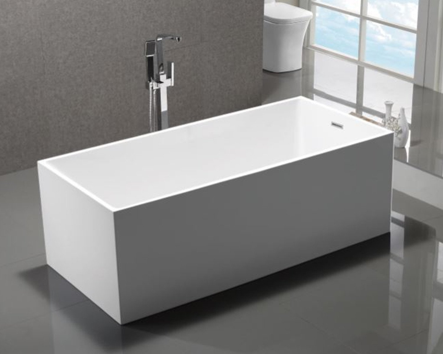 "Long Beach 60"" Freestanding Acrylic Bathtub - White Furniture MTD Vanities"