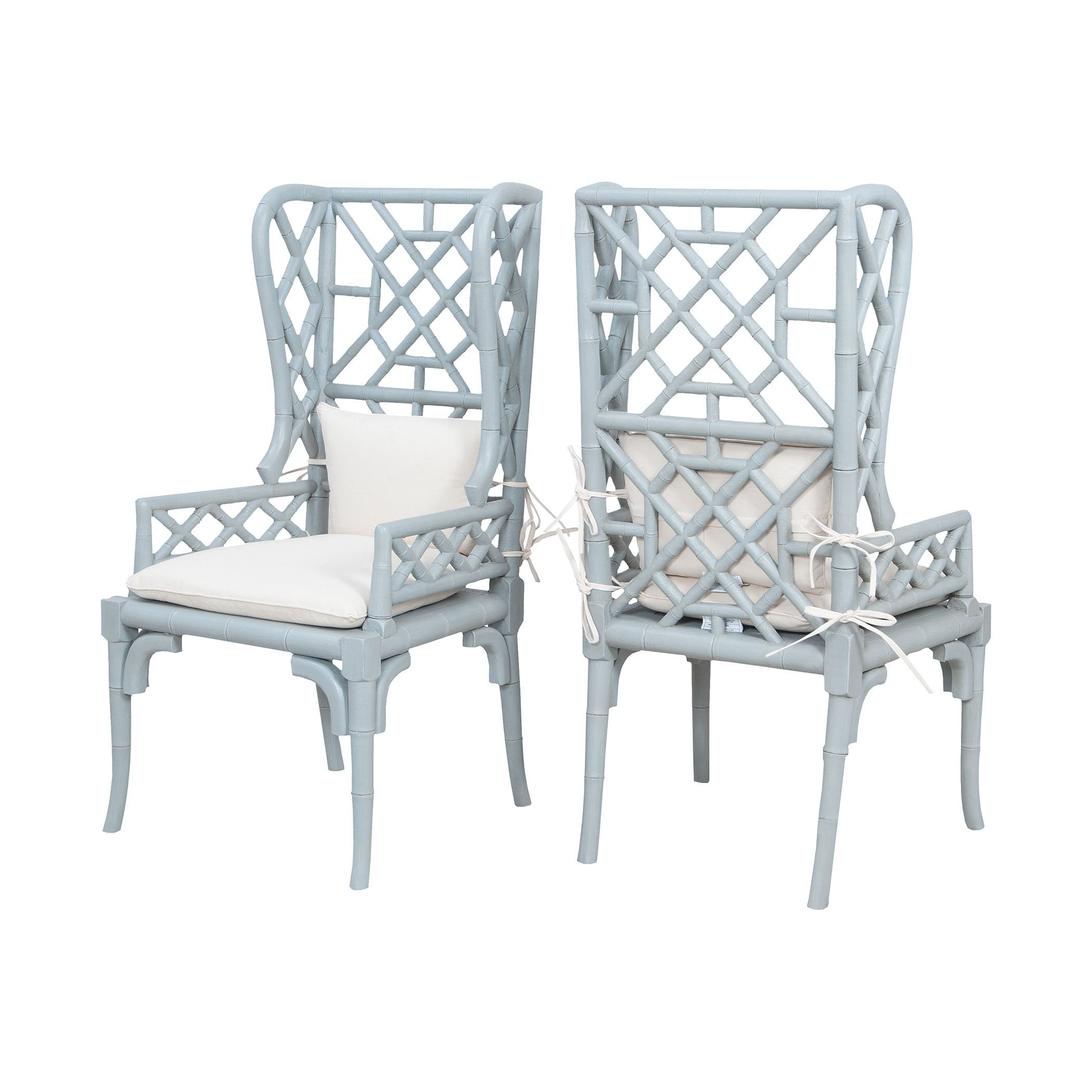 Bamboo Wing Back Chairs In Manor Slate - Set of 2 Furniture GuildMaster