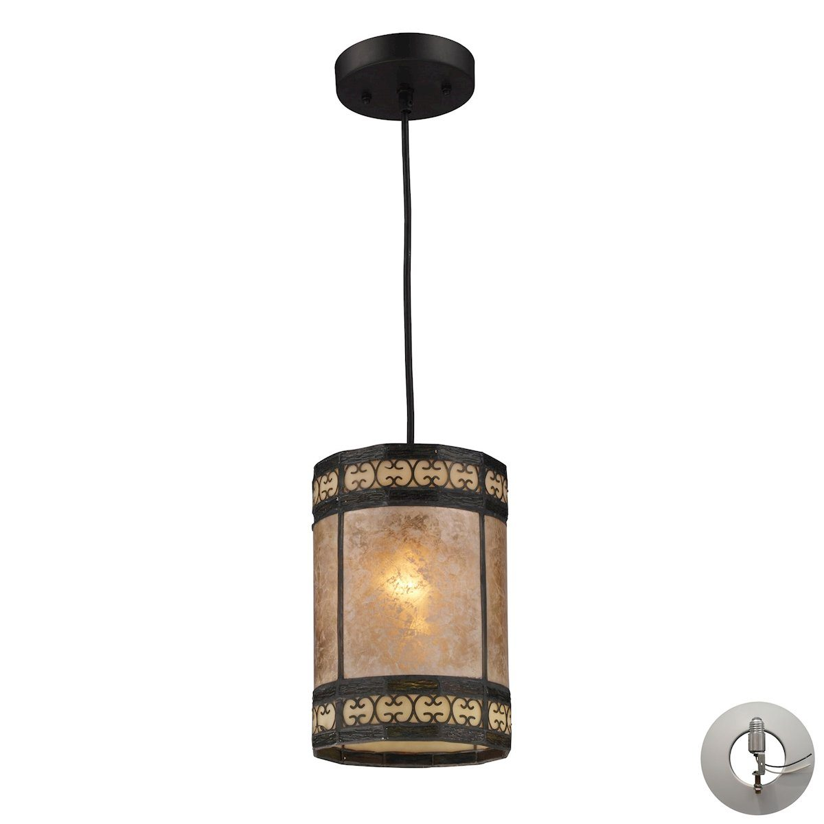 Mica Filigree Pendant In Tiffany Bronze And Tan Mica - Includes Recessed Lighting Kit Ceiling Elk Lighting