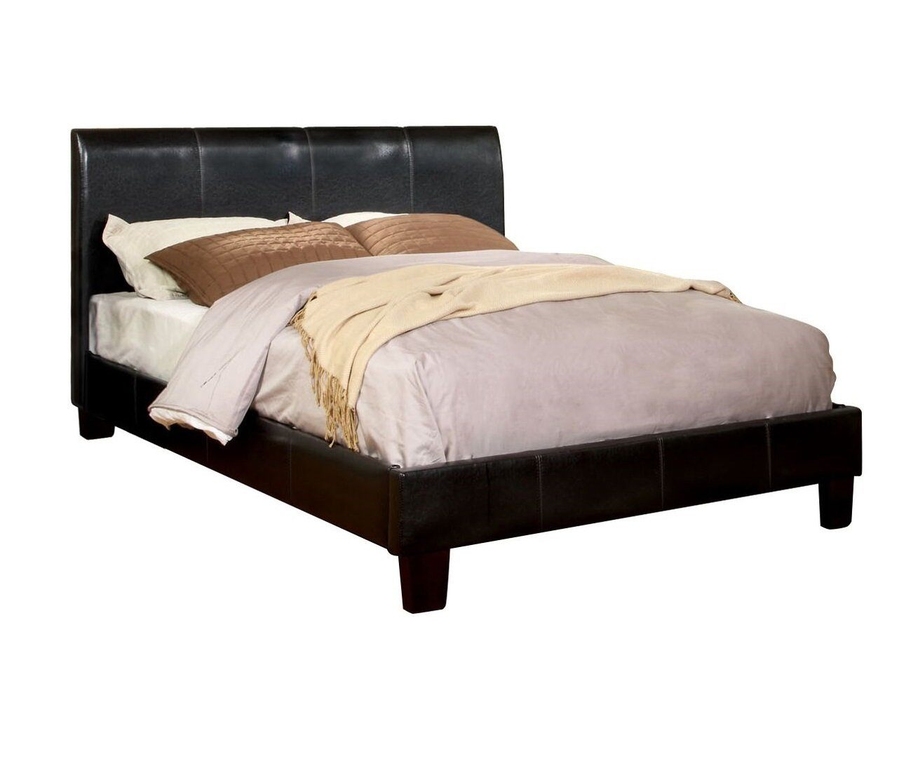 Caris Leatherette Queen Bed Espresso Furniture Enitial Lab